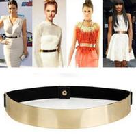 Wholesale Metal Plate Waist Belt - Women Elastic Metal Waist Belt Metallic Bling Gold Plate Slim