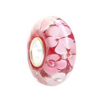 Wholesale Glass Bracelets 3mm - New Fashion Loose Murano Glass Bead Garden Flower For 3mm Thick European Bracelet