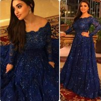 Wholesale Evening Dresses For Celebrities - 2016 Arabic Sparkly Lace Dresses Evening Wear Long Sleeves Beads Floor Length Elegant Navy Blue Plus Size Prom Celebrity Dress For Woman