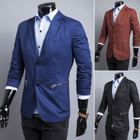 Wholesale Slim Suit Small Men - Free shipping high quality men spring and autumn causal fashion blazer slim fit Wholesale zipper pocket design sells solid small suit X9125F