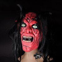 Wholesale Masquerade Masks Horns - Wholesale-Long Hair Red Devil Horns Mask Prank Props Halloween House of Terror Mask Scary Horror Cosplay Costume Masquerade Mask