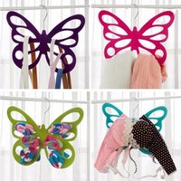 Wholesale Lingerie Shape Belt - Hollowed Out Design Clothes Rack Porous Butterfly Shape Silk Scarf Necktie Hangers Plastic Pile Coating Hanger Fashion 3 8bd B