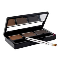 Wholesale Brush Colour - Professional 3 colour EYEBROW Powder Shadow Palette With Double Ended Brush Make Up Eyebrow