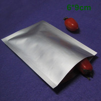 Wholesale 1500pcs / Lot Heat Seal 6x9cm Pur Aluminium Foil Mylar emballage Sac Open Top Argent Emballage sous vide de stockage alimentaire Snack Pack de poche