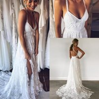 Wholesale Discount Lace Bridal Gowns - Discount Cheap Bohemian Lace Wedding Dresses 2018 Sexy Backless Spaghetti Straps Beach Summer Boho Bridal Gowns Wedding Gowns Custom