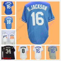 Wholesale Baby Base - Bo Jackson Jersey Men Women Auburn Oakland Jerseys Flexbase Cool Base Home Away Baby Blue Grey White