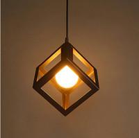 círculo triángulo cuadrado al por mayor-Iluminación colgante de interior Cuadrado de hierro Sahpe triángulo círculo Lámparas colgantes Lámpara de hierro Vintage Lámpara colgante de luz E27 blanco negro