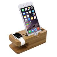 holz iphone halter großhandel-Freie DHL 2015 neueste aufladenplattform für Apple-Uhr-Standplatz-Station für Apple-Uhr für iPhone Bambusholz-Zelle Telefon-Halter-Standplatz