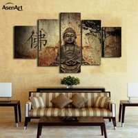 Wholesale wall panels buddha - 5 Pieces Buddha Canvas Wall Art Picture Home Decoration Living Room Canvas Print Painting On The Wall Framed Dropshipping