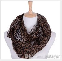 Wholesale Leopard Print Silk Chiffon Scarf - Fashion Leopard Printed Infinity Scarf Circle Loop Infinity Scarves Ring Circle Loop scarf In stock Free shipping 2 lot H410