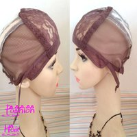 Wholesale Cheap Wigs Weaves - Free Shipping 5pcs Wig Caps For Making Wigs Brown Color Adjustable Wig Base Caps Cheap Glueless Weaving Caps