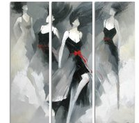 Wholesale Best Abstract Oil Paintings - Hand Painted Best Quality Abstract Figure Oil Painting on Canvas 3 Panels for Wall Decoration in Living Room or Bedroom Large Sizes