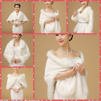 Wholesale Bridesmaids Fur Shawls - In Stock Cheap Faux Fur Bridal Wraps Cape Bridal Jacket Coat For Winter Wedding White Accessories Shawl Bride Bridesmaid Party 2016