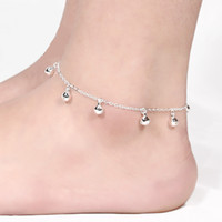 Wholesale silver ball anklet - 12Pcs Lot Lovely Women Bells Anklets Link Chain Lobster Clasp Fashion Jewelry Female 925 Sterling Silver Anklets High Quality