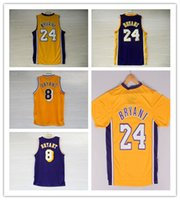 Wholesale Lakers Black Jersey - Mens Kobe Bryant jerseys 23 Best Quality Basketball shirts Throwback 8 lakers Black yellow Purple color Retro 100% Stitched Free Shipping