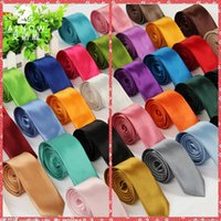 Wholesale Order Neckties - 2016 Best Gift For Mens 5cm Width Solid Ties Skinny Silk Necktie Plain Men Choker Slim 40 Color Min Order 10Pcs Lot Jacquard Woven Wholesale