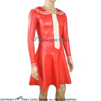 Wholesale Sexy Tie Uniforms - Red With White Sailor Sexy Latex Dress With Tie Rubber Dress Uniform Bodycon Playsuit LYQ-0038