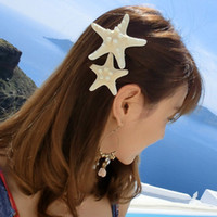 3 '' 2 '' Huge Pretty 100% Naturale Starfish Hairpin Hair Clip Beige Beach Accessorio per capelli Starfish Sea Star Hair Clip Clip per capelli Duck Clip