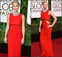 Wholesale Jennifer Lawrence Sexy Dress - Jennifer Lawrence 2016 Golden Globe Award Red Carpet Dresses Cutaway Sides with Beads Neckline Sheath Satin Red Celebrity Gowns