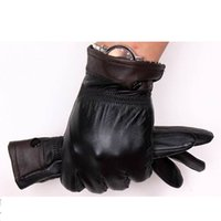 Wholesale Velvet Hat Gloves - Wholesale-Free shipping Men Winter Leather Warm Thermal Faux Thickening Cold-proof Gloves Plus Velvet Motorcycle Riding Gloves