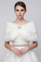 Wholesale Long Sleeve Formal Shrug - Custom Made 2017 Cheap Faux Fur Long Shrug Cape Stole Wrap For Wedding with Long Sleeve Free Size Bridal Prom Evening WHITE IVORY Bolero