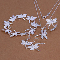 Wholesale crystal dragonfly necklace - High grade 925 sterling silver Insets Dragonfly Set jewelry sets DFMSS328 Factory direct sale 925 silver necklace bracelet earring ring