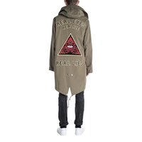 Wholesale Trench Coat Couple - 17FW Eye Embroidery Trench Coats PAKA Triangle Long Army Green Jacket Removable Cap Casual Couple Zipper Outerwear HFLSJK009