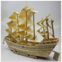 Wholesale Boat Wooden Puzzle - Wholesale-3D wooden model puzzle educational toys wood model ancient sailing boat