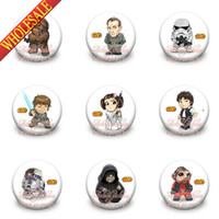 Wholesale Button Pin Badge Brooch - Free Shipping,A Set of 18Pcs Star Wars Tin Buttons pins badges,30MM,Round Brooch Badge ,Mixed 18 Styles,Kids Party Favor