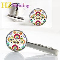 2017 New Polish Folk Clips Cufflinks Set Polish Folk Tie Clip Art Foto Cufflink Glass Handmade Cuffs Presentes para homens CT-0061