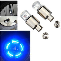Wholesale Car Wheel Neon Lights - Wholesale-2016 Spoke LED Wheel Valve Stem Cap Tire Motion Neon Light Lamp For Bike Bicycle Car Motorcycle