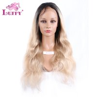 Wholesale Blond Wavy Wigs - Two Tone Blond Hair Wavy Brazilian Full Lace Human Hair Wig Darkest Brown And Blonde Ombre Human Hair Wig
