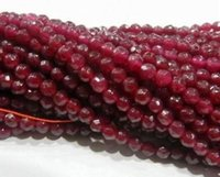 Wholesale Oval Natural Gemstone Beads - AAA+++ Natural 4mm Faceted Brazil Red Ruby Gemstones Loose Beads 15""