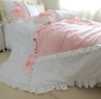 Wholesale Duvet Cover Princess - luxury pure cotton 4pcs bedding kit princess duvet cover set pink and white ruffle color with bow girls romantic home bedding