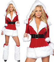 Wholesale Hot Sexy Santa - Hot Sale SEXY COSTUME Women Dress Santa Claus ADULT COSPLAY Christmas Costume Party dress perform costumes