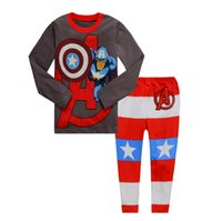 Wholesale Superman Outfit For Kids - Spring Autumn Boys Pajamas Long Sleeve Children Home Wear Superman Cartoon Outfits For Kids 6Set Lot Fit 2-7Age K876