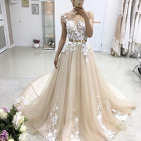 Wholesale Red Sequin Sash Belt - Gorgeous Champagne Tulle Appliques Evening Dresses Sheer Neck Cap Sleeves Metal Belt Ball Gown Prom Dresses Formal Evening Dresses