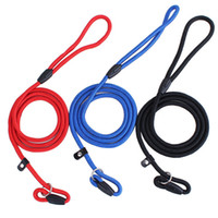 Wholesale Dog Flexible Collars Leashes - The flexible and expandable 120cm Pet Nylon Adjustable Training Walk Lead Dog Strap Rope Traction Harness Collar Leash Chain 0.6cm 0.8cm 1cm
