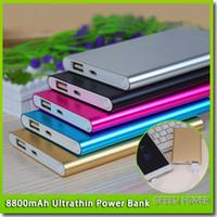 celular fino venda por atacado-Ultra fino magro powerbank 8800 mah Ultrafinos banco de potência para o telefone móvel Tablet PC bateria Externa frete grátis
