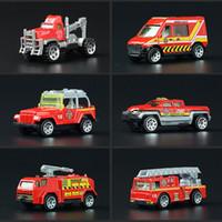 Wholesale Toys Model Fire Car - 6pcs set Children Mini Fire Truck Alloy Toy Car Models Set of 6 Vehicles New