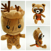 Wholesale Plush Raccoon Toy - 2015 Guardians of the Galaxy Plush Stuff Toy Plush Doll Tree people groot rocket raccoon 20cm Stuffed Toys For Children Kid Christmas Gift