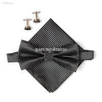 kravat kravat hanky toptan satış-Toptan-2015 Sıcak satmak Siyah erkek boyun kravatlar set papyon hanky kol düğmeleri kelebek Cep meydanı