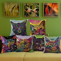 Gatos Tiran Baratos-Colorful Cats Printing Throw Pillow Case Cojines de maíz Cojín Home Decor Sofa Square Office Car Cojín de coche cubre 10 Estilos YFA50