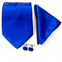 Atacado-New Royal Blue Mens Seda Solid Tie Wedding Groom Gravata Hanky ​​Cufflinks Set ST05