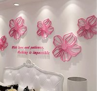 Wholesale Pink Rose Decals - Posters Crystal Rose Wall Stickers Acrylic Material Wallpaper Environmental Home Bedroom Office Decor Creative Style Wall Decals MYY