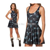 Wholesale Free Games Lines - 2014 Free Shipping Summer Women Fashion Sleeveless O-Neck Dresses Game of Thrones Win or Die Reversible Black Milk Skater Dress