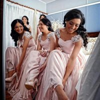 Wholesale Light Coral Pink Dress - Light Pink Long Lace Bridesmaids Dresses 2015 A Line Cap Sleeve Floor Length Bridal Gowns Crystal Girl Maid of Honor Gown Custom Made