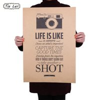 TIE LER Vintage Classic Life Is Like A Camera Poster Cafe Bar Pittura Home Decor Retro Kraft Paper Wall Sticker 51.5X36cm