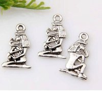 Venda imperdível ! 100pcs Antiqued Silver Alloy Design de dupla face Egyptian girl Charm Pendants DIY Jewelry 20 x 13 mm (p15)