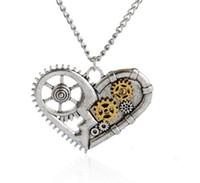 Wholesale Gear Love - Hot Sale Steampunk Antique Vintage Necklace Heart Love Pendant Copper Gear Women Men necklace